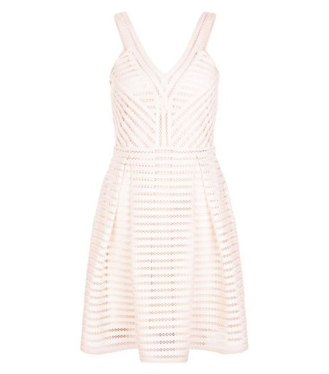 Shell Pink Mesh Stripe V Neck Skater Dress | New Look