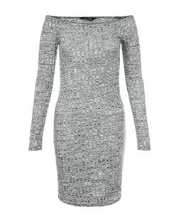 Grey Ribbed Bardot Neck Mini Dress  | New Look