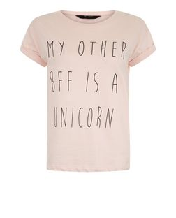 Teens Pink My Other BFF Is a Unicorn Print T-Shirt | New Look