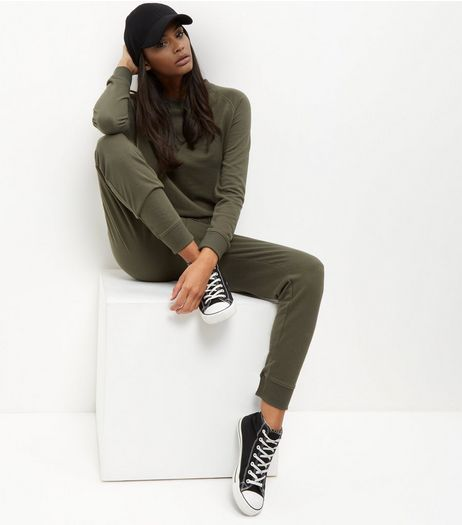 Khaki Sweater Jumpsuit  | New Look