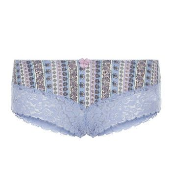 Blue Aztec Stripe Print Lace Leg Brazilian Briefs