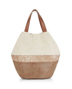Stone Canvas Glitter Stripe Beach Bag  | New Look