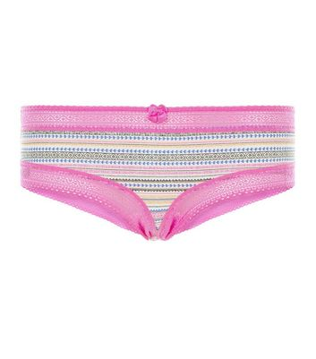 Pink Aztec Print Lace Trim Short Briefs
