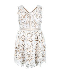 Curves White Lace Ladder Trim Skater Dress | New Look