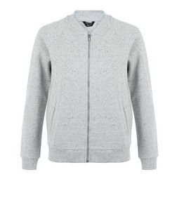 Teens Grey Marl Bomber Jacket  | New Look