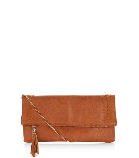 Tan Stitch Trim Clutch  | New Look