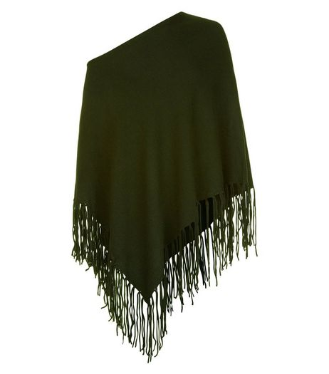 Khaki Fringed Poncho | New Look