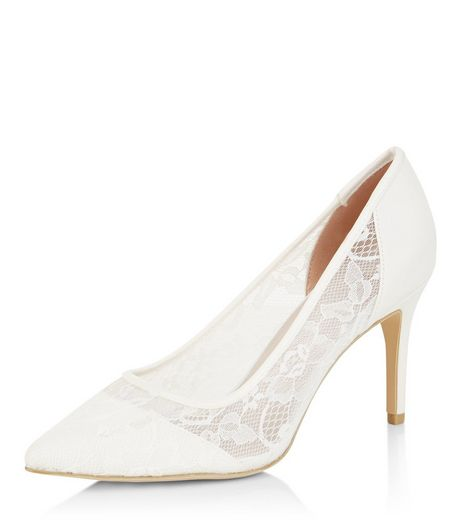 Wide Fit Cream Lace Panel Pointed Heels  | New Look
