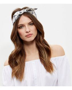 White Grid Check Bandana | New Look