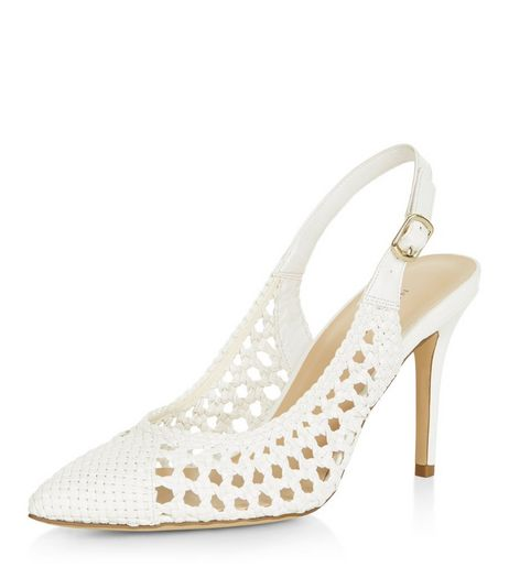 White Woven Cut Out Sling Back Pointed Heels | New Look