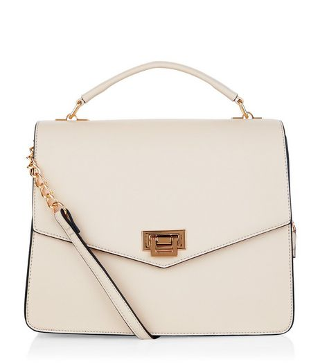 Cream Colour Block Shoulder Bag  | New Look