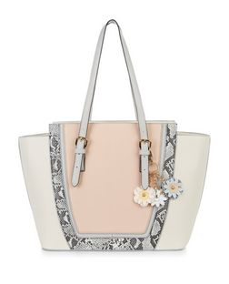 Cream Snakeskin Print Trim Floral Clip Tote Bag  | New Look