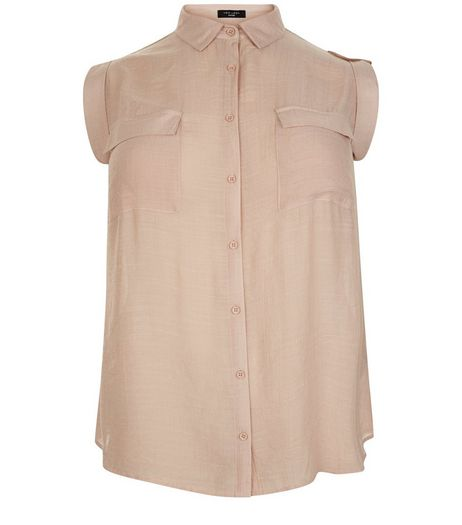 Curves Shell Pink Short Sleeve Shirt | New Look