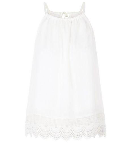 Parisian White Crochet Hem Cami | New Look