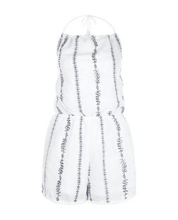 Parisian White Stripe Halter Neck Playsuit | New Look