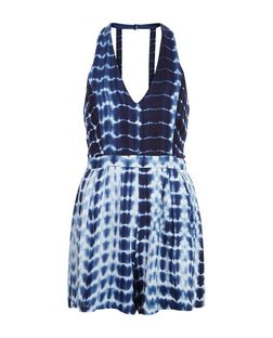 Parisian Blue Tie Dye Halter Neck Playsuit | New Look