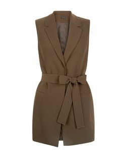 Khaki Tie Waist Sleeveless Blazer  | New Look