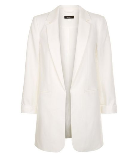 White Longline Blazer  | New Look