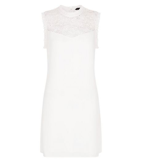 White Lace Panel Frill Sleeve Dress  | New Look