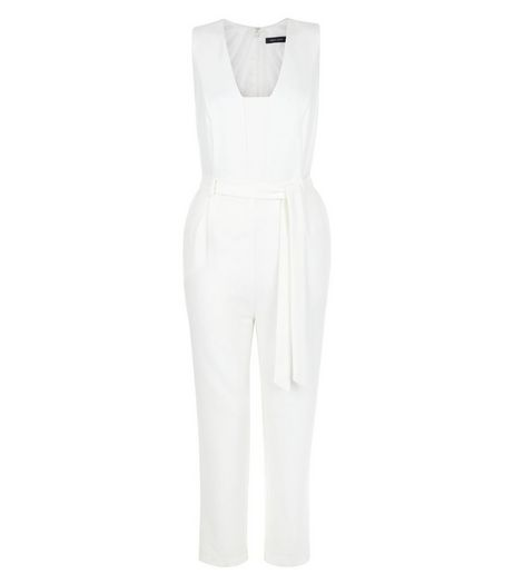 White Square Neck Tie Waist Jumpsuit  | New Look