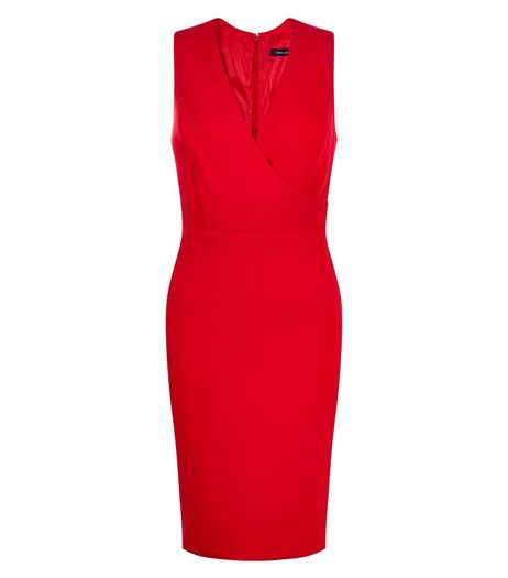 Red Wrap Front Pencil Dress | New Look
