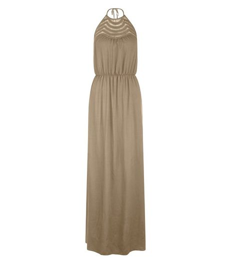 Khaki Crochet Panel Halter Neck Maxi Dress  | New Look