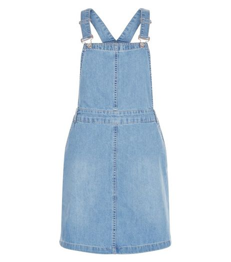 Blue Denim Pinfore Dress  | New Look