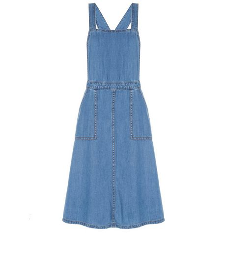 Blue Denim Pinafore Midi Dress  | New Look