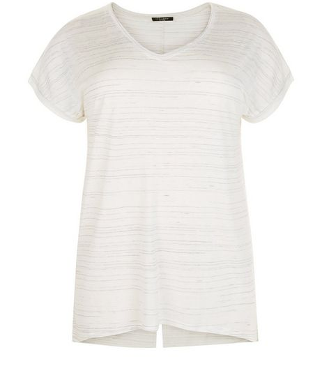 Curves White Space Dye V Neck T-Shirt | New Look