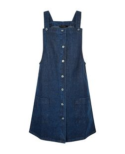 Dark Blue Denim Button Front Pinafore Dress  | New Look