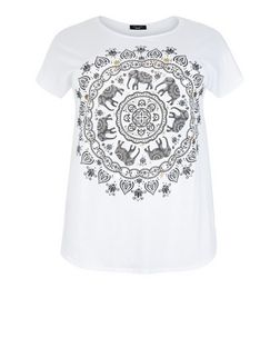 Plus Size White Elephant Print T-Shirt | New Look