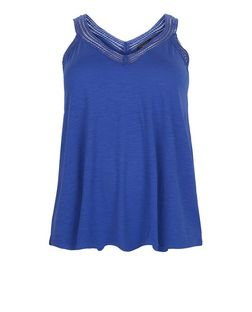 Curves Blue Crochet V Neck Vest | New Look