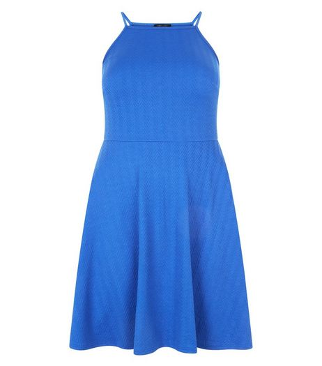 Curves Blue Textured Strappy Dress | New Look