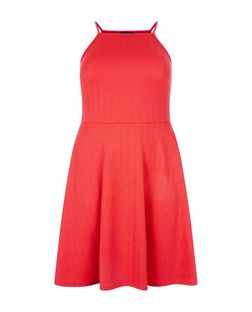Curves Red Textured Strappy Dress | New Look