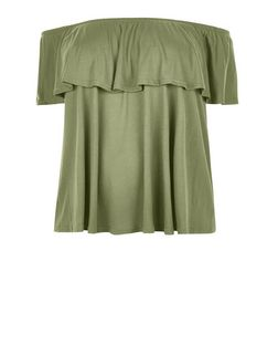 Plus Size Khaki Bardot Neck Top | New Look