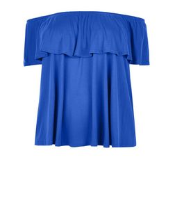 Plus Size Blue Bardot Neck Top | New Look