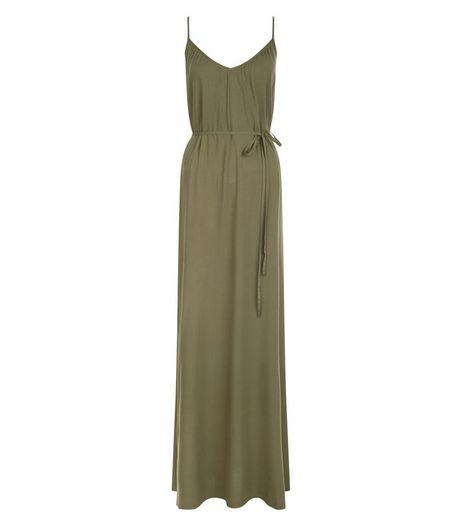 Khaki Tie Waist Strappy Maxi Dress  | New Look