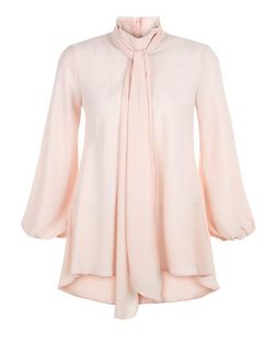 John Zack Pink Pussybow Bell Sleeve Blouse | New Look