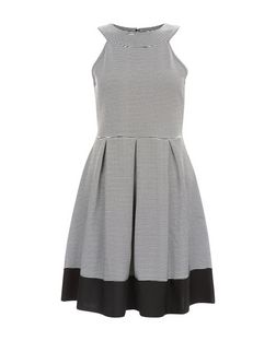 Grey Stripe High Neck Skater Dress  | New Look