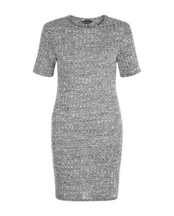 Grey Ribbed Bodycon Mini Dress | New Look