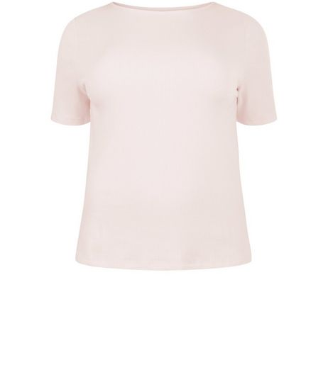 Curves Pink Ribbed 1/2 Sleeve Top | New Look