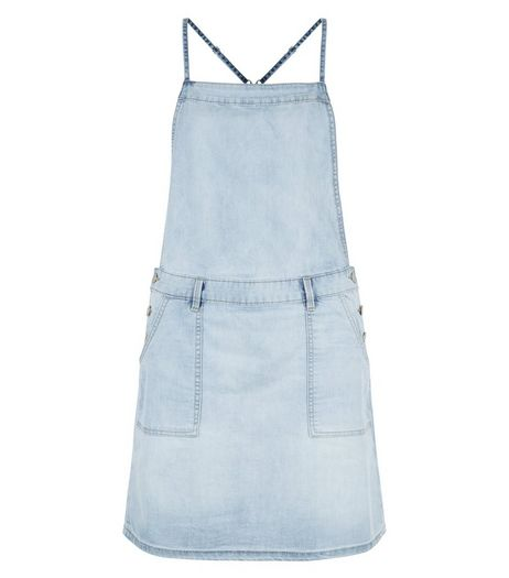 Light Blue Denim Pinafore Dress  | New Look
