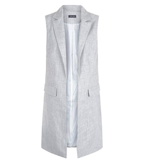 Grey Longline Sleeveless Blazer  | New Look