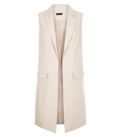 Shell Pink Longline Sleeveless Blazer  | New Look