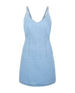 Petite Blue Denim Acid Wash Bodycon Dress | New Look