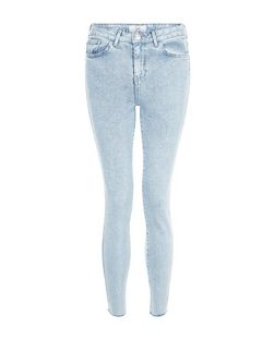 Blue Acid Wash Fray Hem Skinny Jeans | New Look