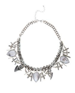 Silver Premium Gem Stone Necklace  | New Look