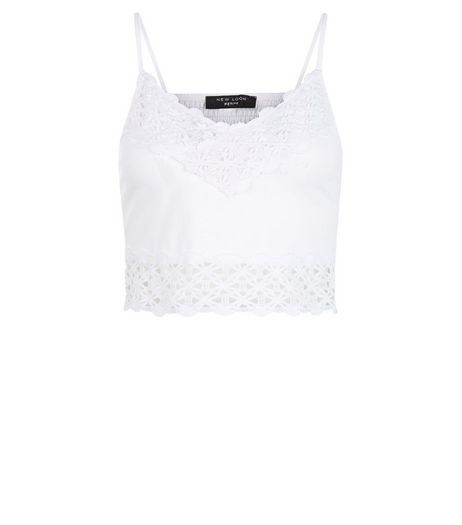 Petite White Lace Trim Bralet Cami  | New Look