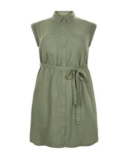 Curves Khaki Linen Mix Belted Shirt Dress | New Look