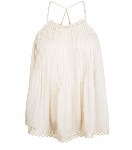 Petite Shell Pink Pleated Crochet Trim Cami  | New Look